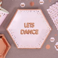 Glitz & Glamour Pink & Rose Gold Medium Let's Dance Plates (8)
